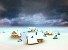 Winter village resort dark sky evening. Illustration Stock Photography