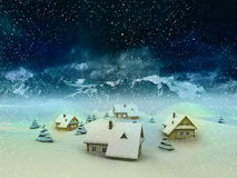 Winter village resort with mountains and snowfall. Magic winter resort scene with mountains and snowfall illustration Stock Photography