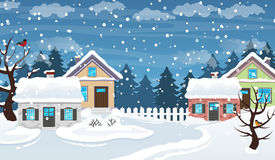 Winter village scene Royalty Free Stock Image