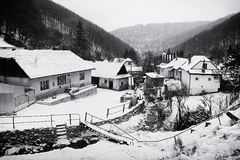 Winter Village Scenery Stock Photos