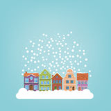 Winter village seasonal greetings template Stock Photo