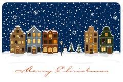 Winter Village Seasonal Greetings Vector Illustration Stock Photos