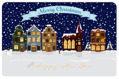 Winter Village Seasonal Greetings Vector Illustration Royalty Free Stock Images
