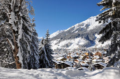 Winter village. A small village in the mountains under the snow Stock Photo