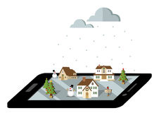 Winter village on the smartphone in black Stock Photos