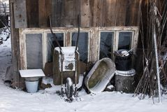 Winter village still life Stock Images