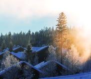 Winter village Stock Photo