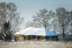 Winter village wooden house cold Royalty Free Stock Image