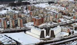 Winter in the Vilnius. City in the white snow. Winter time Stock Photography