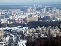 Winter in the Vilnius city. City in the white snow. Winter time Stock Photography