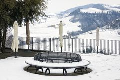 Winter vineyards snowy balcony. Color image. Winter view of a public terrace over the hilly region of Langhe in the southern area of Piemonte Region, Northern stock images