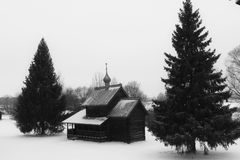 Winter, Vitoslavlicy. Vitoslavlicy is the open air museum. It tolds about life and wayof life our ancestry Stock Photo