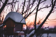 Winter-Vogelhaus-Sonnenuntergang stockfotos