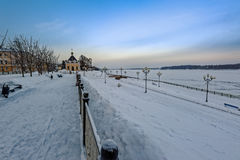 Winter Volga embankment in Rybinsk Royalty Free Stock Images