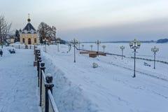 Winter Volga embankment in Rybinsk Stock Photo