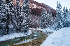 Winter in Vrata valley. Julian alps, slovenia Royalty Free Stock Photography