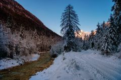 Winter in Vrata valley. Julian alps, slovenia Stock Photography