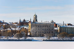 Winter Vyborg. Snow on the roofs Royalty Free Stock Photography