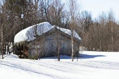 Winter-Waldkabine Stockbild