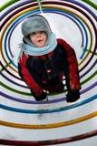 Winter walk child. Child on baby platform winter daytime Royalty Free Stock Image