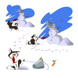 Winter walk. A dog, a mitten and a snowman royalty free stock photo