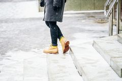 Free Winter Walk In Yellow Leather Boots Stock Photo - 138450250