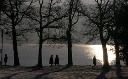 Winter walk by the lake. Taking a walk near WortherSee lake in the winter Royalty Free Stock Photo
