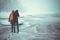 Winter walk. Winter landscape. Walk pairs. Cold royalty free stock photo