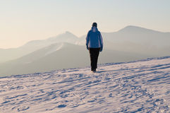 Winter walk in mountains Royalty Free Stock Photography