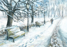 Winter walk. Winter park with a walking couple. Watercolor and gouache painting Royalty Free Stock Photography