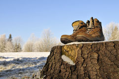 Winter Walking hiking boots Royalty Free Stock Image