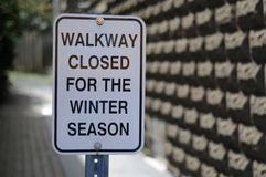 Winter Walkway Closed Sign Royalty Free Stock Photos