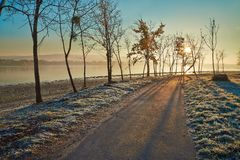 Winter walkwy with frost Stock Photo
