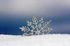 Winter wallpaper. Beautiful silver snowflake in snow Stock Photos