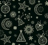 Winter wallpaper with decorative golden pattern Stock Image