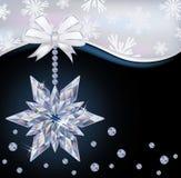 Winter wallpaper with diamond snowflake. Vector illustration Royalty Free Stock Photo