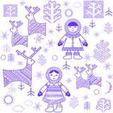 Winter wallpaper with Eskimo Royalty Free Stock Photo