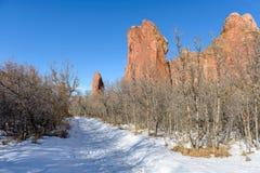 Winter-wandernde Spur Stockbilder
