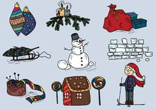 Winter warm clothes christmas sketch Royalty Free Stock Photos