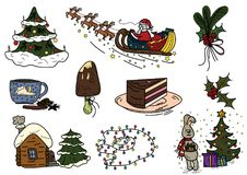 Winter warm clothes christmas sketch Royalty Free Stock Images