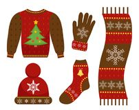 Winter warm clothes icon set, flat style.   Royalty Free Stock Images