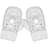 Winter warm knitted mittens in zentangle style.  Royalty Free Stock Image