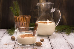 Winter warm milk drink eggnog Stock Photos
