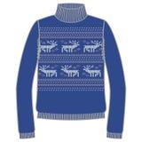 Winter warm sweater handmade, svitshot, jumper for knit, black color. Design - snowflakes, reindeer jacquard pattern. Winter warm sweater handmade, svitshot stock illustration