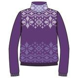 Winter warm sweater handmade, svitshot, jumper for knit, black color. Design - snowflakes, reindeer jacquard pattern. Stock Photo