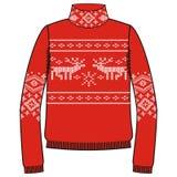 Winter warm sweater handmade, svitshot, jumper for knit, black color. Design - snowflakes, reindeer jacquard pattern. Royalty Free Stock Images
