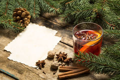 Winter warming drink. Glass of mulled wine with ingredients Royalty Free Stock Photos