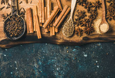 Winter warming spices for baking or cooking mulled wine Stock Photo