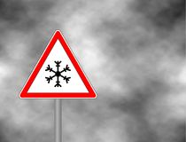 Winter warning sign shows danger of ice and snow at street, highway or road. Snow warning sign Risk of Ice warning sign isolated Stock Photos