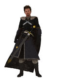 Winter Warrior. Fantasy bearded warrior in long fur lined cloak and black leather with long sword in scabbard Stock Image